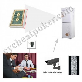 water dispenser cheating camera scanning invisible bar code spy playing cards